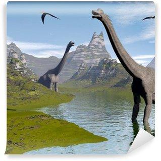 Fototapeta Winylowa Brachiosaurus dinozaury w wodzie - 3d render