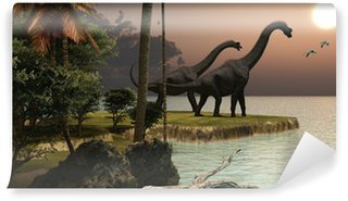 Vinylová Fototapeta Brachiosaurus Sunset