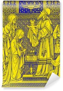 Vinylová Fototapeta BRATISLAVA, SLOVENSKO, listopadu - 21, 2016: litografie prezentace v chrámu od neznámého autora s iniciály FMS z konce 19. stol. a tištěný Typis Friderici Pustet.