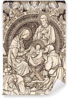 Vinylová Fototapeta BRATISLAVA, SLOVENSKO, listopadu - 21, 2016: litografie z Anoration z Sheepherders designet neznámým umělcem (1889) a tiskne v Německu Typis Friderici Pustet.