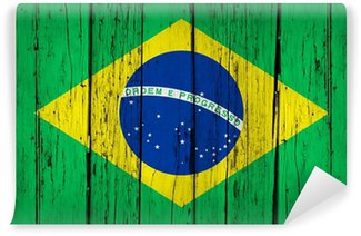Vinylová Fototapeta Brazil Flag Wood Background