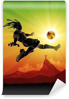 Fototapeta Vinylowa Brazylia piłkarz strzelanie słońce