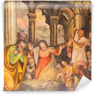 Vinylová Fototapeta Brescia, Itálie - 21.května 2016: Zrození freska Lattanzio Gambara (1530 - 1574) v kostele Chiesa del Santissimo Corpo di Cristo.