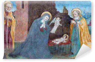 Vinylová Fototapeta Brescia, Itálie - 21.května 2016: Zrození freska Paolo da Caylina il Vecchio (cca 1501) v kostele Chiesa del Santissimo Corpo di Cristo.