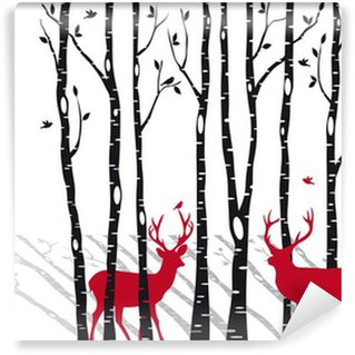 Vinylová Fototapeta Břízy s vánoční jelenů, vektor