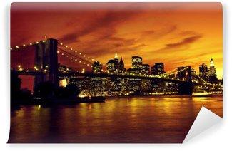 Vinylová Fototapeta Brooklyn Bridge a Manhattan při západu slunce, New York