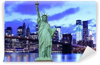 Vinylová Fototapeta Brooklyn Bridge a Socha Svobody, New York City