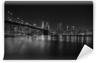 Vinylová Fototapeta Brooklyn Bridge v noci, New York