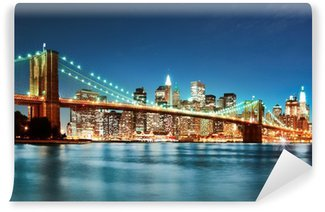Vinylová Fototapeta Brooklyn most v noci
