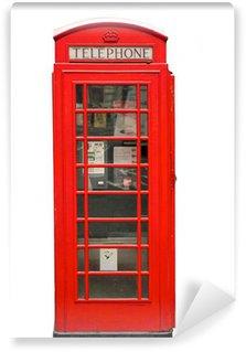 Fototapeta Vinylowa Brytyjski czerwone stoisko telefonu samodzielnie na białym tle