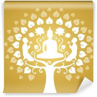 Fototapeta Vinylowa Budda sylwetka, buddyzm i bothi drzewo