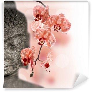 Vinylová Fototapeta Buddha a červené orchideje