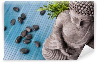 Vinylová Fototapeta Buddha s bambusem a masážní kameny a shell s květinami
