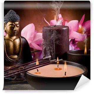 Vinylová Fototapeta Buddha se svíčkou a kadidla