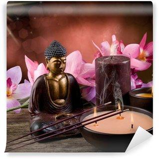 Vinylová Fototapeta Buddha witn svíčky a kadidlo