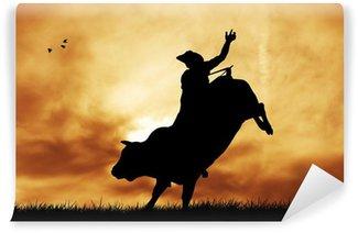 Vinylová Fototapeta Bull jezdec při západu slunce