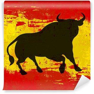 Vinylová Fototapeta Bull přes španělské pozadí vlajky Vector