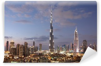 Vinylová Fototapeta Burj Khalifa a Dubaj Downtown za soumraku. Spojené arabské emiráty