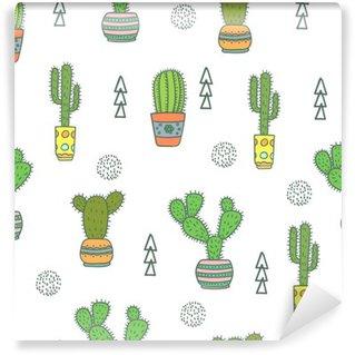 Vinylová Fototapeta Cactus bezešvé vzor. Doodle barevné květiny v květináčích. Vektorové pozadí s roztomilou kaktusu.
