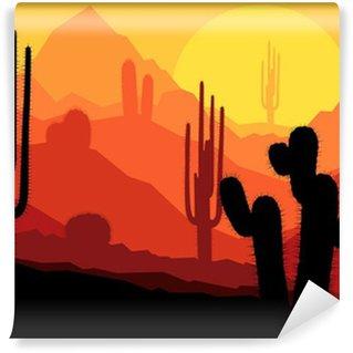 Vinylová Fototapeta Cactus rostliny v Mexiku Pouštní slunce vektoru