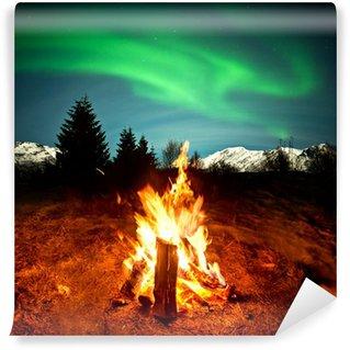 Vinylová Fototapeta Camp Fire sledování Northern Lights
