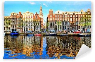 Vinylová Fototapeta Canal domy Amsterdamu za soumraku s živými odlesky