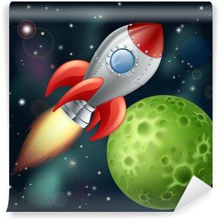 Vinylová Fototapeta Cartoon raketa ve vesmíru