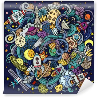 Vinylová Fototapeta Cartoon ručně kreslených čmáranice Space ilustrační