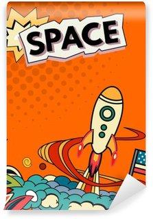 Vinylová Fototapeta Cartoon vektorové ilustrace prostoru. Měsíc, planeta, raketa, hlína, kosmonaut, komety, vesmír Klasifikace Mléčná dráha ručně kreslenými Comics vesmír