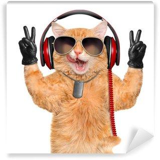 Vinylová Fototapeta Cat sluchátka.