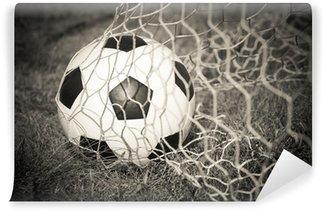 Vinylová Fototapeta Černá a bílá: Fotbalový míč v brance