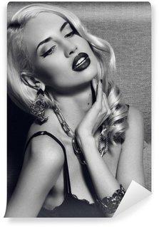 Vinylová Fototapeta Černá a bílá módní portrét krásná blondýna