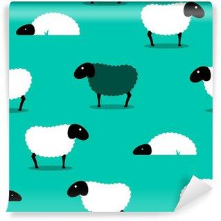Vinylová Fototapeta Černá ovce mezi bílou ovcí dlaždice pozadí