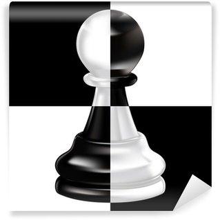 Vinylová Fototapeta Černý bílý pěšec na šachovnici