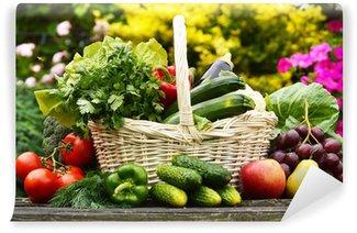 Vinylová Fototapeta Čerstvé organické zelenina v proutěném koši na zahradě