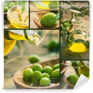 Vinylová Fototapeta Čerstvě sklizené olivy, olivový olej, olivového dřeva