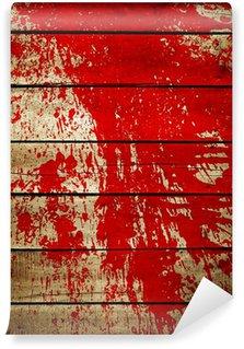 Vinylová Fototapeta Červená barva stříkající na dřevo prkně