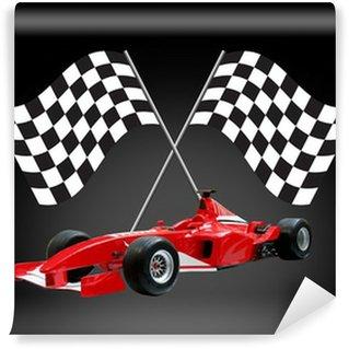 Vinylová Fototapeta Červená formule jedna auta a vlajky