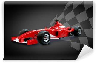 Vinylová Fototapeta Červená formule jedna auta a závodní vlajky