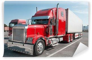 Vinylová Fototapeta Červená US Truck s chromovými částmi