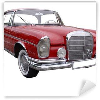 Vinylová Fototapeta Červené auto Mercedes s kapkami deště na něj