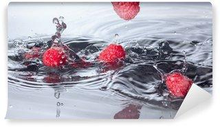 Vinylová Fototapeta Červené maliny spadl do vody s Splash
