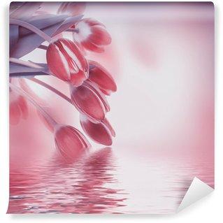 Vinylová Fototapeta Červené tulipány s zelené trávy. Květinové pozadí.