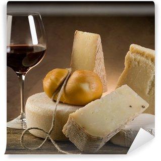 Vinylová Fototapeta Červené víno a sýr
