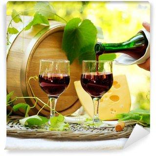 Vinylová Fototapeta Červené víno a sýry. Romantický oběd Outdoor.