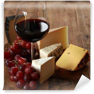 Vinylová Fototapeta Červené víno s různými druhy sýra