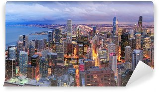 Vinylová Fototapeta Chicago skyline panorama letecký pohled