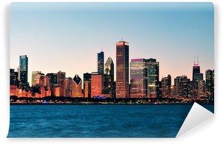 Vinylová Fototapeta Chicago skyline za soumraku