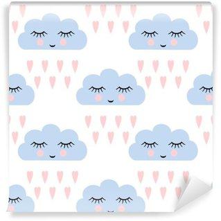 Fototapeta Winylowa Chmury wzór. Jednolite wzór z uśmiechem śpiących chmury i serca dla dzieci święta. Cute baby shower tło wektor. Dziecko rysunek styl deszczowe chmury w miłości ilustracji wektorowych.