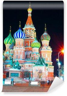 Vinylová Fototapeta Chrám Vasila Blaženého v noci, Rudé náměstí, Moskva, Rusko